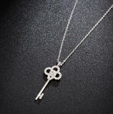 Silver Clover Key Pendant - Pave Cubic Zirconia 925 Sterling Silver Flower Leaf Clover Key Pendant Necklace