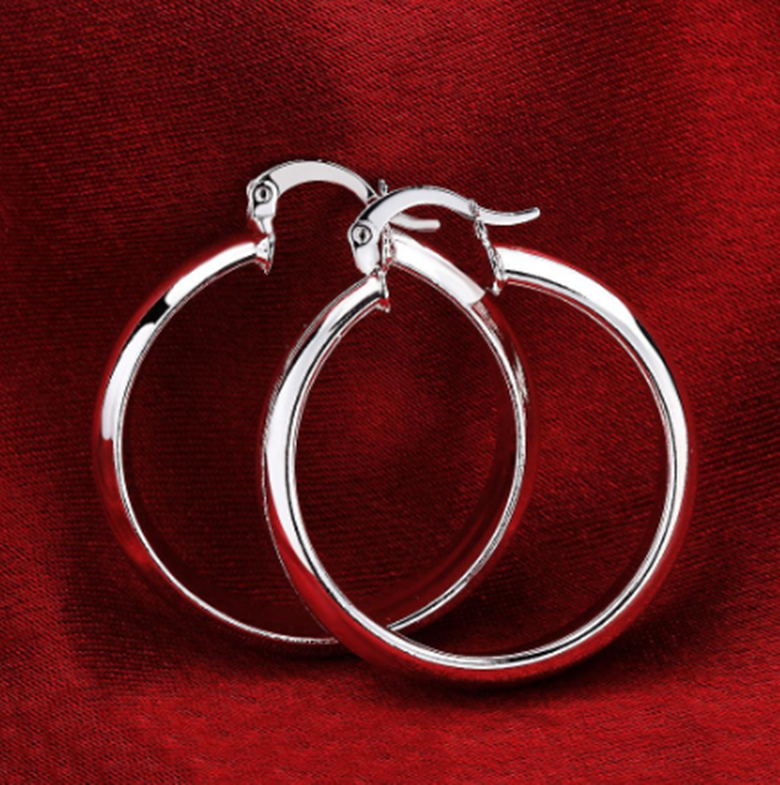 Jewellery - Womens 925 Sterling Silver Elegant Round Shaped Pierced Hoop Earrings #E74