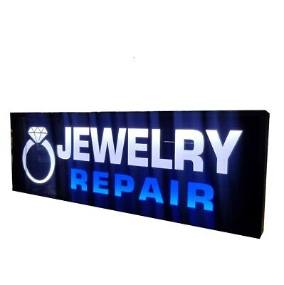 Jewelry Repair Signled Light Box Sign 12x36x2 Inch