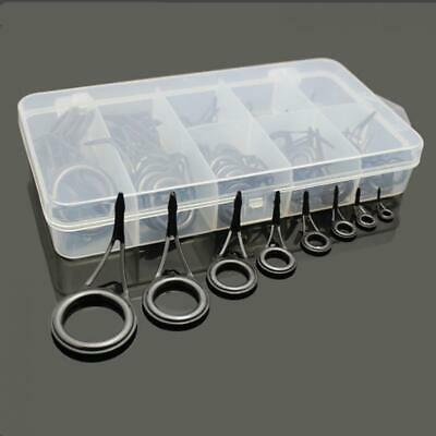 75Pcs Ceramic 8 Sizes Fishing Rod Guide Tips Top Eye Rings Line Repair Kit Set