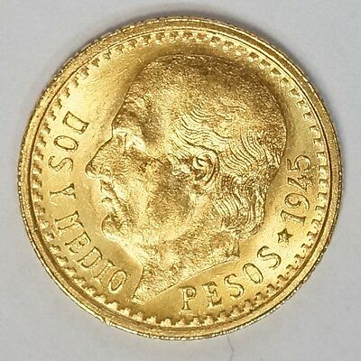 Random Date Mexico 2-1/2 (2.5) Pesos Gold Coin - .0603 Troy Oz AGW