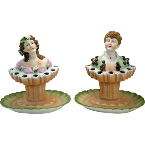 Pair of Bisque Figural Flower Frogs, Boy and Girl - Early 1900