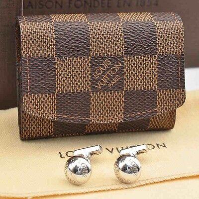Authentic  Louis Vuitton Damier Cuff Links Case / Cuff Links Silver #S1617 E