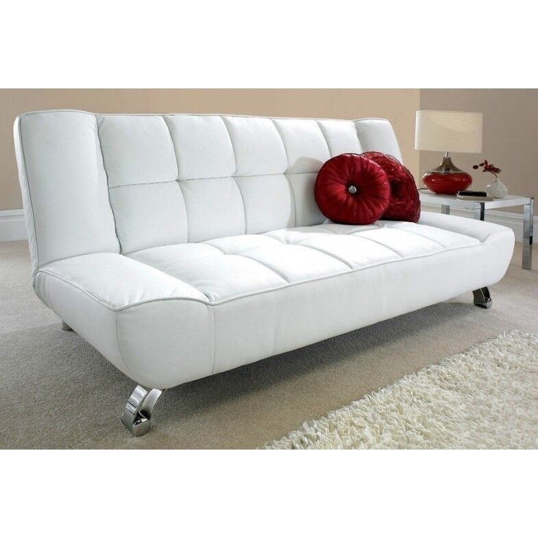 Vogue Faux Leather Sofa Bed In White Rrp 259 In Clifton Manchester