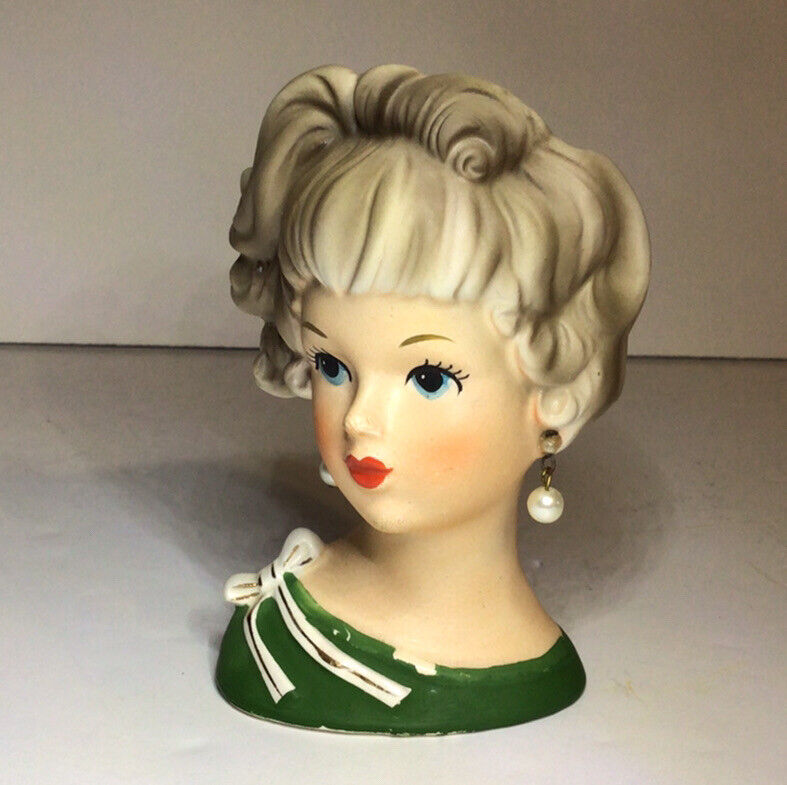 Relpo Lady Woman Head Vase Planter 4 3/8 Inches Tall K1942 Vintage