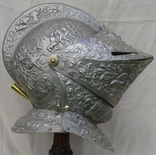 Antique Silvered Bronze Medieval Renaissance Knight King Jousting Parade Helmet