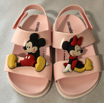 Mini Melissa Girls Toddler Pink Rubber Mickey & Minnie Sandals Shoes Size 8
