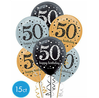 50th Balloons (Fiftieth 50th Birthday Sparkling Celebration Balloons Party Supplies)