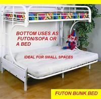 STRONG METAL BUNK BED TWIN WITH FUTON BOTTOM OR USE AS A BED !