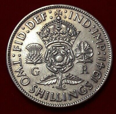 2 Shillings 1941 Silver Great Britain  King George VI Coin KM# 855, Sp# 4081