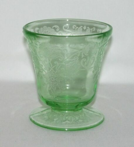 Hazel Atlas Glass Co. FLORENTINE No.2 Poppy Green Low Footed Juice Tumbler