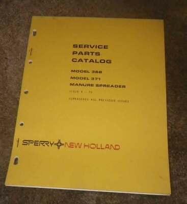 New Holland Model 368-371 Manure Spreader Illustrated Parts Manual Original