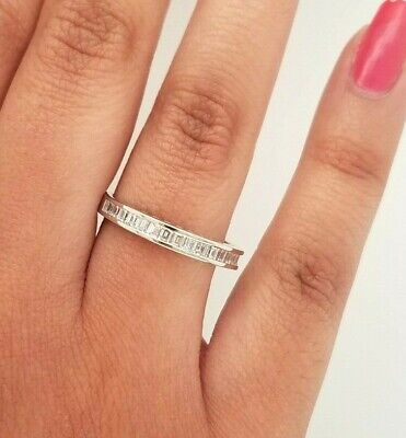 1 CT Baguette Channel Set Diamond Wedding Band Anniversary Ring 14k White Gold  Bridal Channel Set Baguette