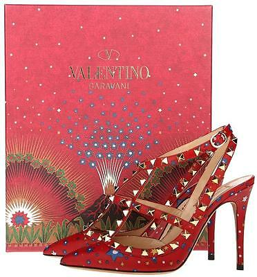 NEW VALENTINO GARAVANI ROCKSTUD ENCHANTED WONDERLAND T-STRAP HEELS SHOES 36.5