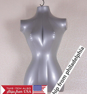 Brand New Silver Female Inflatable Torso Form Mannequin
