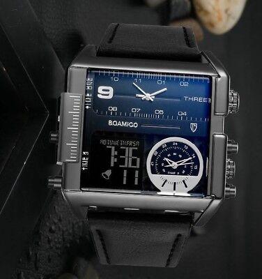- BOAMIGO Dual Display Quartz Leather Wristband 3 Time Zone Watch W-4