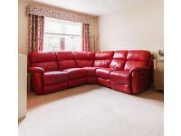 Corner reclining sofa - red
