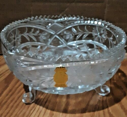 LEAD CRYSTAL CUT GLASS FOOTED CENTERPIECE BOWL PRIMROSE IMPERLUX GERMANY