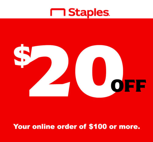 Staples Coupon Code $20 OFF $100 / Online Only / * FAST DELIVERY *