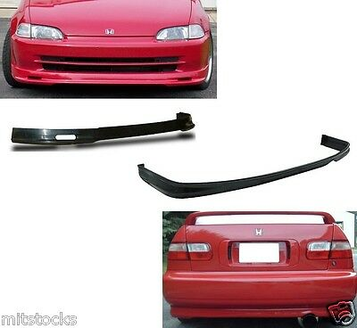 92-95 CIVIC 4 DOOR PU POLY URETHANE BLACK ADD-ON FRONT + REAR BUMPER LIP