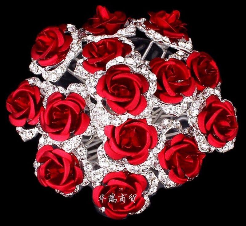 Bridal Wedding Red Rose Flower Crystal Diamante Jewellery Hair Pin Grip