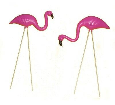 2 Small Pink FLAMINGO mini Lawn Ornaments Yard & garden art decor - Pink Flamingo Lawn Ornament