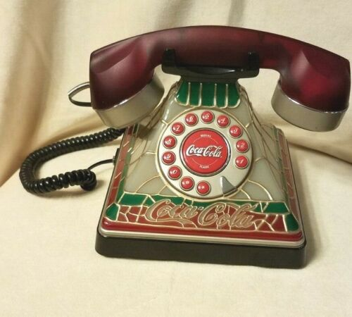 VINTAGE COCA COLA DESK TOP PUSH BUTTON TELEPHONE WITH STAINED GLASS LOOK.