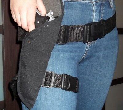 Black Gun Holster Waist Belt / thigh strap SWAT Security costume Half Life Mesa - Gun Holster Costume