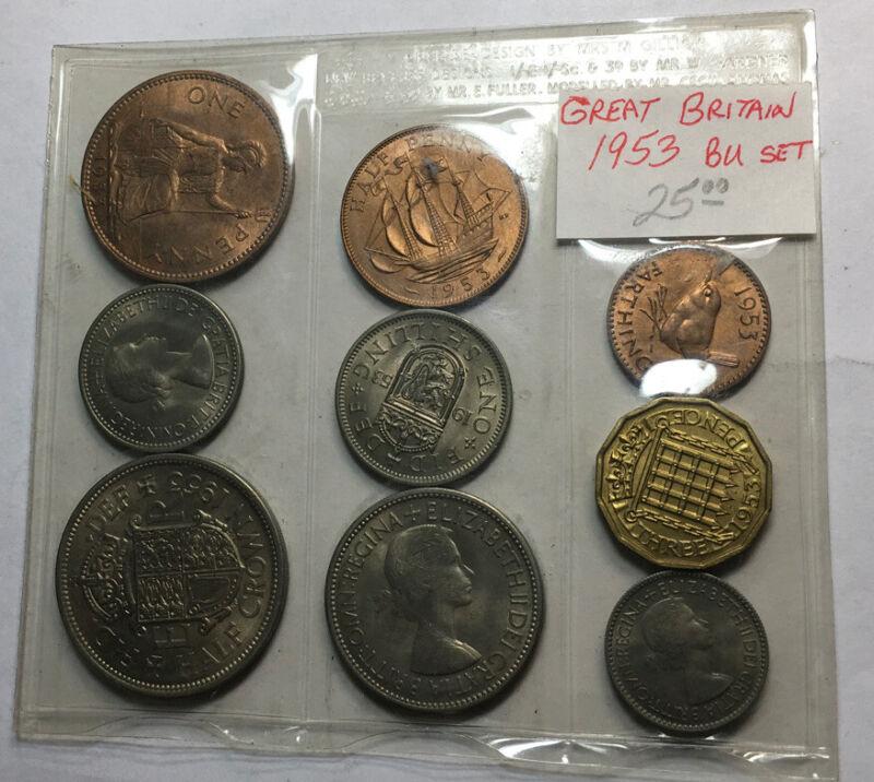 Great Britain 1953 BU 9 Coin Set In Holder