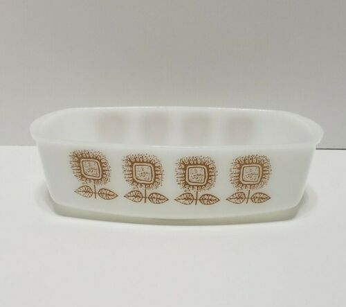 Federal White Milk Glass Brown Sunflower Heat Proof Loaf Pan