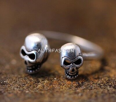 Double Skull Ring Retro Silver Tone Unique Funny Punk Halloween Gift Idea Riding](Funny Female Halloween Ideas)