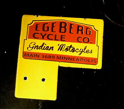 VINTAGE 1950'S INDIAN MOTORCYCLES PLATE TOPPER EGEBERG AUTO TRUCK PORCELAIN GAS