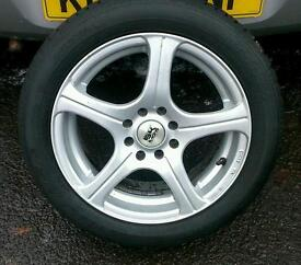 """Multi fit 15 """" 4 stud alloys with matching mint tyres"""