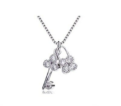 Pave Cubic Zirconia 925 Sterling Silver Tiny Clover Lock & Key Pendant