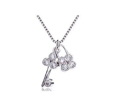 Pave Cubic Zirconia 925 Sterling Silver Tiny Clover Lock & Key Pendant (Cubic Zirconia Key Necklace)