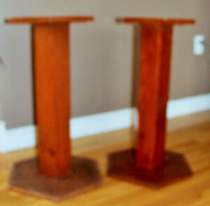 "PAIR PLANT STANDS 29"" TALL SOLID WOOD"