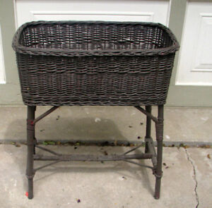 SMALL ANTIQUE WICKER PLANT STAND - OTHER ITEMS FOR SALE