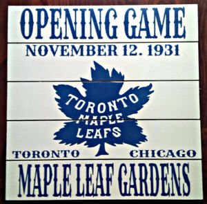 TORONTO MAPLE LEAFS OPENING GAME NOV 12 1931...16x16 CRATE SIGN