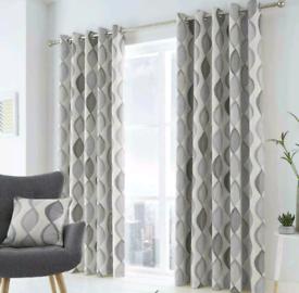 100% Cotton Grey Geometric Curtains