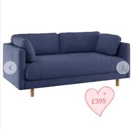 MASSIVE CLEARANCE!! 2 seater fabric sofa. Blue. Was £715.99
