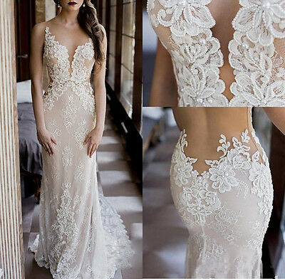 Mermaid White Ivory Lace Appliques Wedding Dress Bridal Gown  2 4 6 8 10 12 14