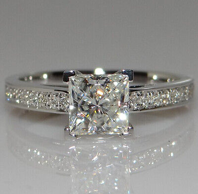 Ring - White Sapphire Birthstone 925 Silver Filled Wedding Bridal Ring Gift  Size 5-10