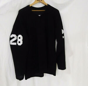 Cooper #28 Starter Hockey Jersey Solid Black White Numbers (L)