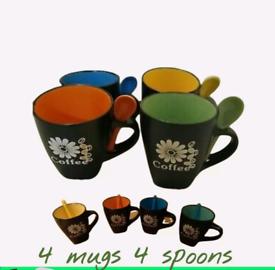 LUXURY Coffee Mug Set x 4 With Spoons new with box