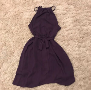 PURPLE CHIFFON BELTED HALTER DRESS- DYNAMITE