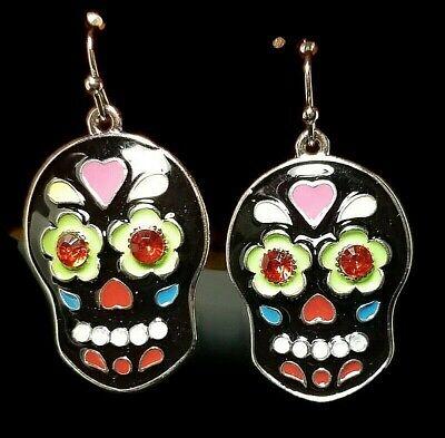 "Day of the Dead Skull Skeleton Hook Fashion Costume Jewelry Black 1.5"" Halloween"