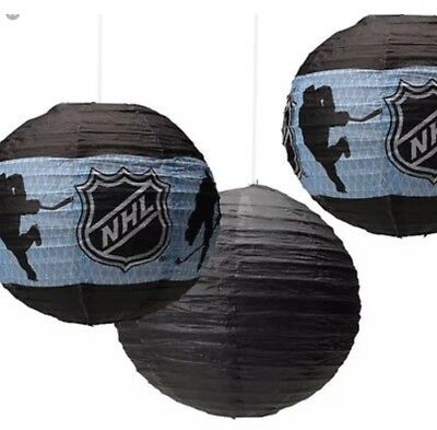 New 3 Pack NHL Hockey Paper Lanterns Birthday Party Decorations Supplies - Hockey Birthday Party Supplies