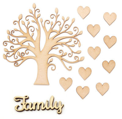 MDF Family Tree Set Kit With Wooden Hearts Family Word Wooden Craft Blank Shapes - Wooden Hearts Crafts