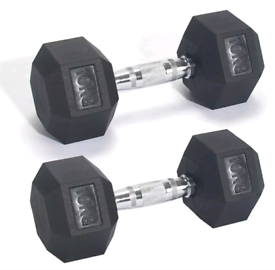 Pro Fitness Rubber Hex Dumbbell Set - 2 x 10kg Weights