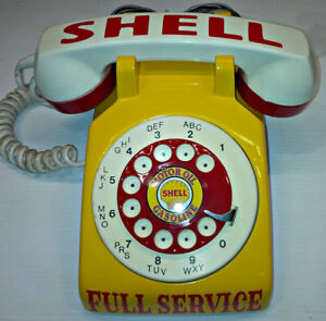 VINTAGE CUSTOM DESIGNED N' PAINTED SHELL GAS ROTARY PHONE